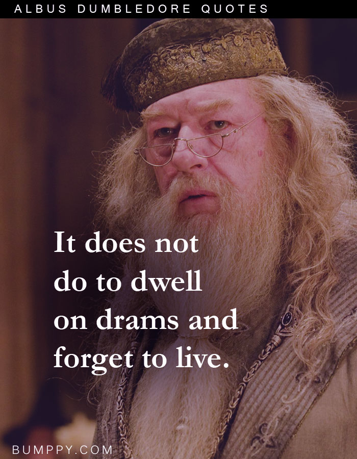 It does not do to dwell on drams and forget to live.