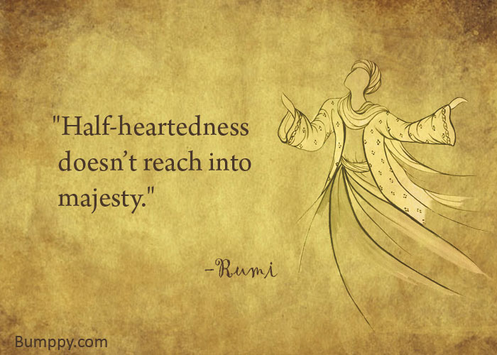 """Half-heartedness   doesn't reach into   majesty."""
